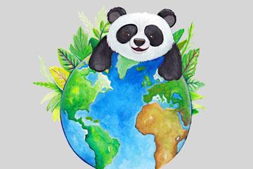 水彩绘世界地球日熊猫矢量素材