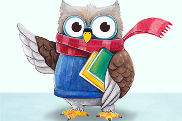彩绘抱书的卡通猫头鹰矢量素材