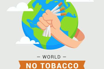 创意世界无烟日握断烟的手臂矢量图