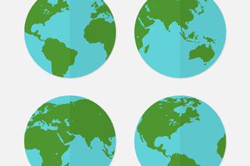 4款扁平化蓝色地球矢量素材