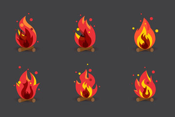 9款红色篝火图标矢量素材