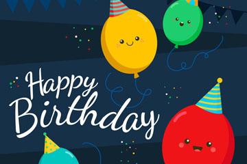 彩色表情气球生日贺卡矢量图