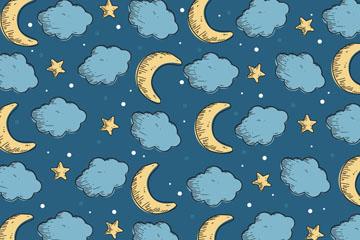彩绘云朵和月亮无缝背景矢量图