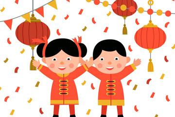 可爱春节男孩和女孩矢量素材