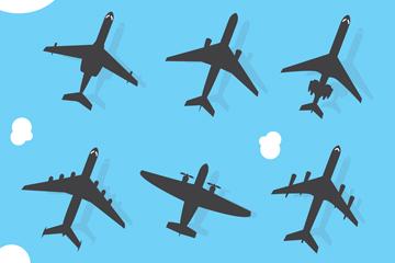 6款创意飞机剪影矢量素材