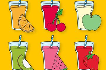 6款彩绘水果和果汁矢量图