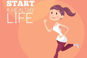 创意跑步健身女子矢量素材