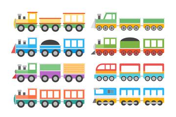8款彩色卡通火车矢量素材