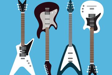 4款时尚电吉他矢量素材