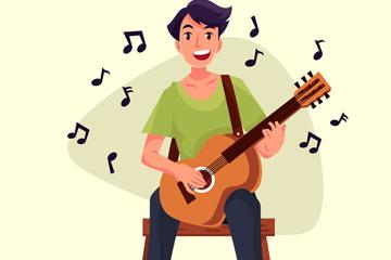 创意弹吉他的快乐男子矢量图