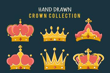 9款手绘王冠设计矢量素材