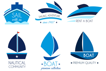 6款蓝色船舶标志矢量素材