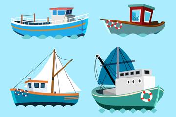 4款彩色船舶设计矢量素材