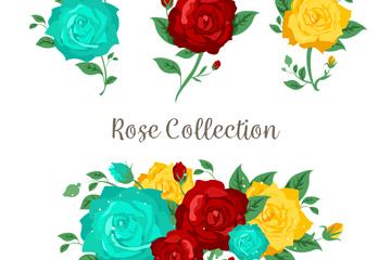 3款彩色玫瑰花和花束矢量素材
