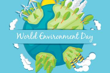 扁平化世界环境日地球矢量素材