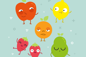 6款搞怪表情水果矢量素材