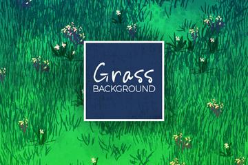 水彩绘花卉点缀的草地矢量图