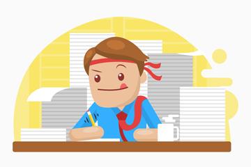 卡通勤奋工作的商务男子矢量图
