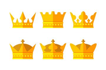 9款扁平化金色王冠矢量素材
