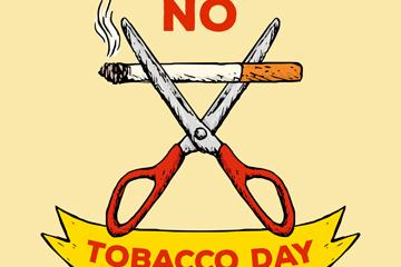 手绘世界无烟日剪断香烟的剪刀矢量素材
