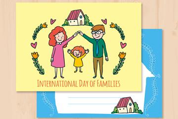 彩绘国际家庭日信纸矢量素材
