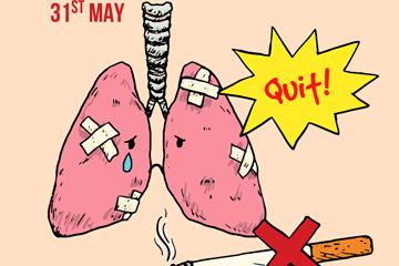创意世界无烟日肺部和香烟矢量图