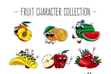 9款手绘彩色表情水果矢量图