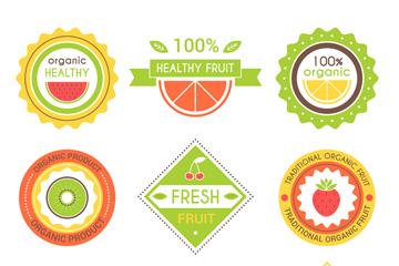 9款创意新鲜果汁标签矢量素材