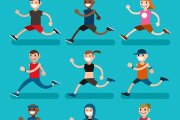9款卡通笑脸跑步人物矢量素材