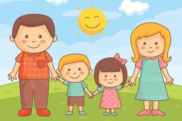 卡通国际家庭日四口之家矢量图