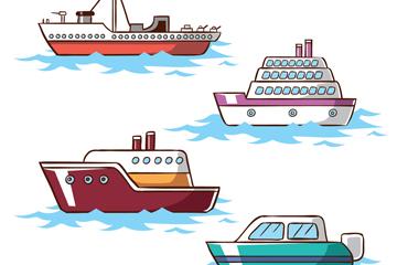 4款创意游轮设计矢量素材