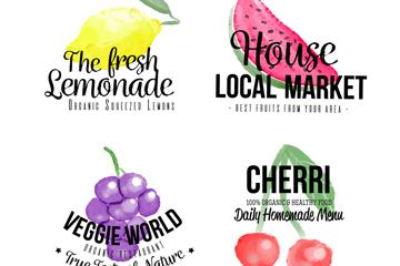 4款水彩绘水果手工食品标签矢量