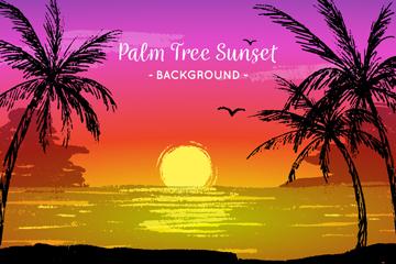 手绘海滩夕阳和棕榈树矢量图