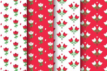 4款彩色扁平化玫瑰花无缝背景矢