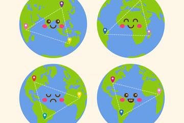 4款创意可爱表情地球矢量素材