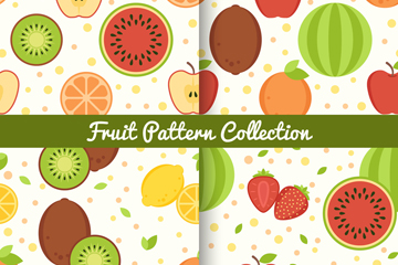 4款扁平化水果无缝背景矢量图