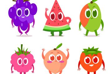 6款卡通彩色表情水果矢量齐乐娱乐