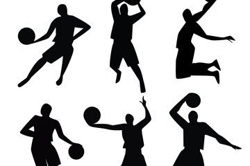 6款动感篮球人物剪影矢量图