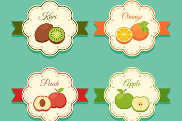 4款扁平化水果标签矢量素材