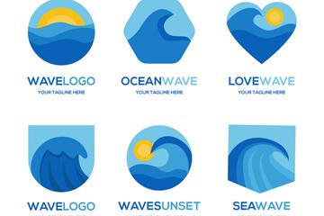 6款蓝色海浪标志矢量素材