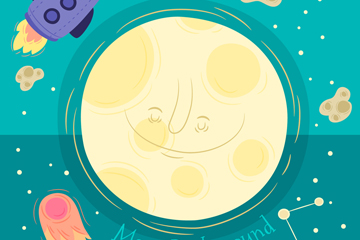 手绘卡通可爱太空中的月亮和火箭