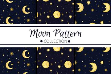 3款创意手绘月亮无缝背景矢量素材