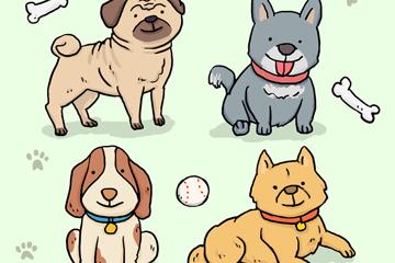 4款手绘可爱宠物狗矢量齐乐娱乐