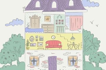 手绘三层私人住宅内部图矢量图