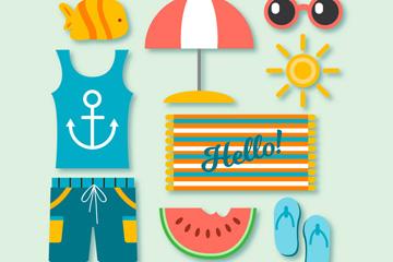 9款彩色夏日假期元素矢量梦之城娱乐