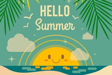 复古你好夏季沙滩海报矢量素材