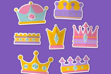 7款彩色王冠贴纸矢量素材