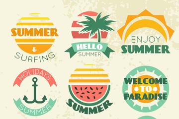 9款复古夏季度假徽章矢量素材