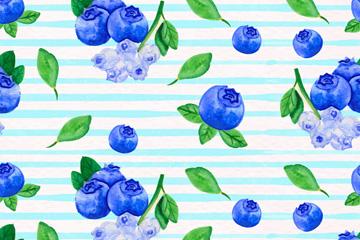 水彩绘蓝莓无缝背景矢量素材