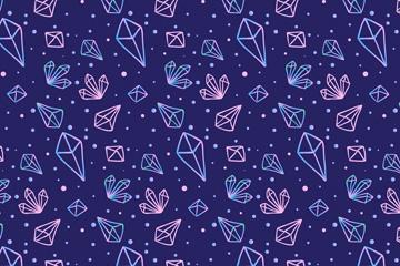 手绘彩色宝石无缝背景矢量图